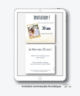 Invitation anniversaire femme numérique-Invitation électronique-Invitation digital-imprimable-pdf numérique-Invitation connecté-Invitation anniversaire à envoyer par mms-par mail-réseaux sociaux-whatsapp-facebook-photo polaroid-paillette-doré-format carré