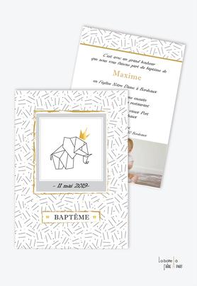 faire part bapteme garçon elephant couronne-origami -motif graphique-noir et blanc-couronne doré-animal-animaux