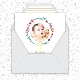 faire part bapteme fille numérique animé-Faire-part baptême digital-électronique-fichier Pdf-envoyer via les reseaux sociaux-whatsapp-facebook-messenger-croix couronne- fleurs-pivoine-couronne champètre-religieux
