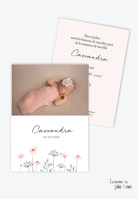 faire-part naissance fille avec bouquet de fleurs champêtre-existe en format plié