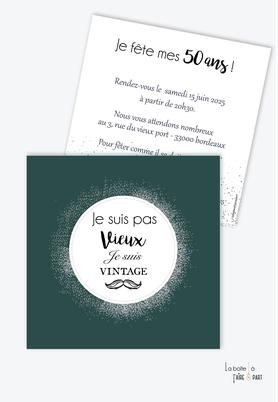 invitation anniversaire homme-carte d'invitation anniversaire homme 20ans-30ans-40ans-50ans-60ans-70ans-couronne argentée-moustache- format carré