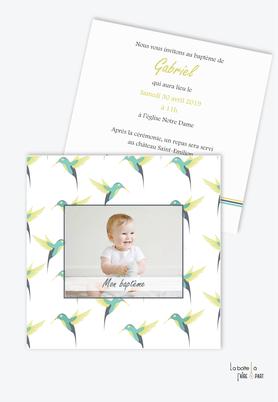 faire part baptême garçon -colibris vert -oiseau-tropical-motif-format carré-faire-part elegant-tendance-moderne-pas cher-animal-animaux