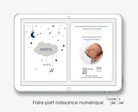 faire part naissance garçon numérique-faire part garçon digital-fichier Pdf-nuage lune-etoile-note musique-envoyer par mail -envoyer par sms ou mms-réseaux sociaux-whatsapp-messenger-via smartphone-pictogramme