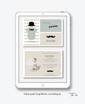 faire part bapteme garçon numérique-électronique-fichier Pdf-moustache chapeau-à imprimer soi même