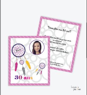 invitation anniversaire femme attrape rêve-plume