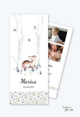 faire part naissance garçon-animaux-biche-faon-oiseau-bouleau-liberty-bois-forêt-photo-format marque page-