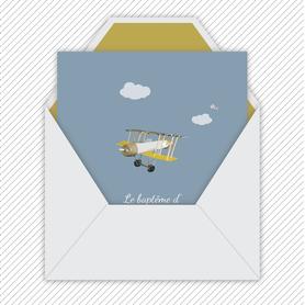 faire part bapteme garçon numérique animé-Faire-part baptême digital-électronique-fichier Pdf-envoyer via les reseaux sociaux-whatsapp-facebook-messenger- Petit avion vintage-nuage-oiseaux-