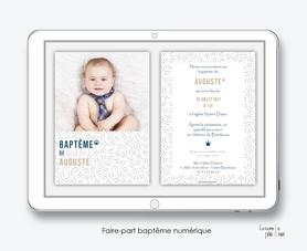 faire-part baptême garçon numérique-électronique-pdf-motif petits traits -motif graphique- à imprimer soi-même-noir et blanc