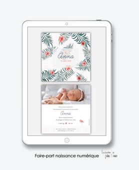 faire-part naissance numérique-faire part digital-faire part numérique--faire part connecté- faire-part à envoyer par sms-mms-par mail-réseaux sociaux-whatsapp-facebook-tropical-jungle-feuille de palmier-hibiscus-photo-flamant rose