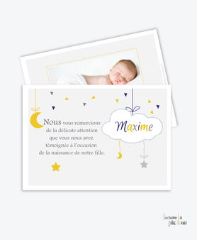 carte remerciement naissance garçon nuage, étoile et lune avec photo