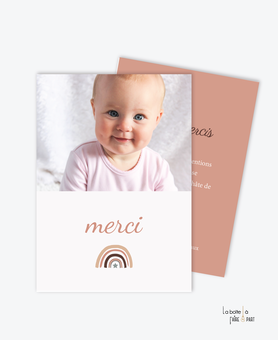 Carte de remerciements naissance fille -petit Arc en ciel -etoile