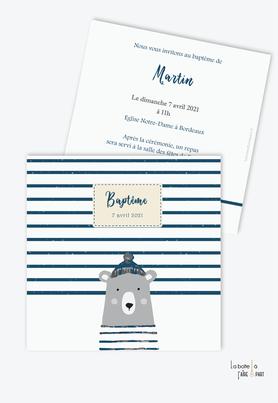 faire part baptême garçon pas cher-ourson marin-animal-ours marin-bleu et gris-rayure marine-format carré-animal-animaux-sans photo-ours