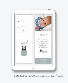 carte de remerciements naissance garçon numérique-électronique-pdf-petit habit bleu-layette vintage-oiseau-électronique-pdf-à imprimer soi-même