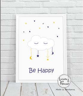 Affiche garçon nuage blanc- nuage blanc-étoile-lune-plumes-yeux-be happy-déco chambre-affiche déco-poster- chambre de bébé-poster de chambre-déco chambre de bébé-affiche de naissance-affiche cadeau-cadeau de naissance- affiche naissance