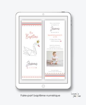 faire part bapteme fille numérique-Faire-part baptême digital-électronique-fichier Pdf-cygne origami-couronne doré-marque pagee