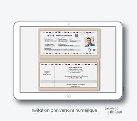 Invitation anniversaire homme numérique-Invitation électronique-Invitation numérique-imprimable-pdf numérique-Invitation connecté-Invitation anniversaire à envoyer par mms-par mail-réseaux sociaux-whatsapp-facebook-billet d'avion party