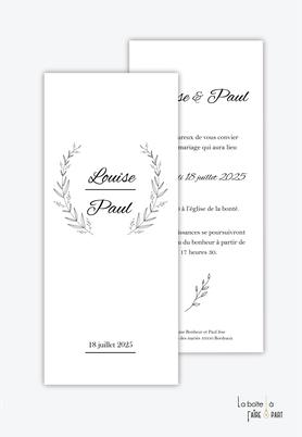 Faire-part mariage-format marque page-simple-chic-elegant-vegetal noir et blanc-format marque page