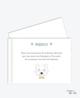 carte de remerciements origami ours-noeud papillon