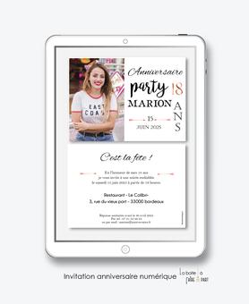 Invitation anniversaire femme numérique-Invitation électronique-Invitation digitale-imprimable-pdf numérique-Invitation connecté-Invitation anniversaire à envoyer par mms-par mail-réseaux sociaux-whatsapp-facebook-anniversaire party-