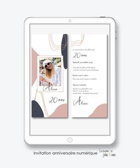 Invitation anniversaire femme numérique-Invitation électronique-Invitation digitale-imprimable-pdf numérique-Invitation connecté-Invitation anniversaire à envoyer par mms-par mail-réseaux sociaux-whatsapp-facebook-formes ovales-polaroid-trait doré
