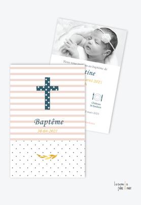 faire part baptême fille tendance et pas cher-croix et rayures-motif à pois- rayure rose- epi de blé-eglise-baptême religieux-pictogramme