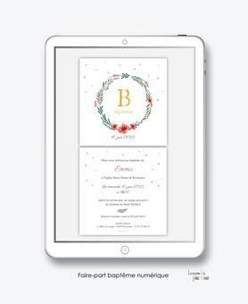 faire-part baptême numérique-faire part électronique-faire part numérique-imprimable-pdf numérique-faire part connecté-couronne feuille-hibiscus-fleurs-faire part à imprimer-faire-part à envoyer par sms-mms-par mail-réseaux sociaux-whatsapp-facebook