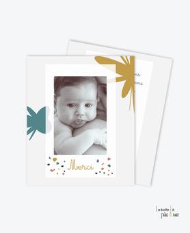 carte de remerciement naissance garçon -motifs abstrait- motif terrazzo-couleur rose, bleu beige