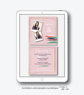 invitation anniversaire femme numérique /électronique -fichier PDF-trait de gouahe