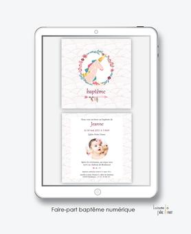 faire-part baptême fille numérique-faire part baptême digital-faire part numérique-pdf numérique-faire part connecté-licorne origami couronne-fleche-fleurs-faire part à imprimer soi-même-faire-part à envoyer par sms - faire-part à envoyer par mail