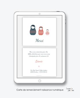 carte de remerciements naissance fille numérique-poupées russes-carte de remerciement électronique -pdf imprimable-pdf numérique-faire part connecté-    -à imprimer soi-même-carte de remerciement naissance à envoyer par mail