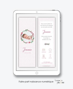 faire-part naissance fille numérique-faire part naissance digital-faire-part digital -fichier pdf -couronne fleurie-pictogramme-fleurs-pivoine-à envoyer par mail -à envoyer par mms-sms-réseaux sociaux-whatsapp-messenger-via smartphonepictogramme