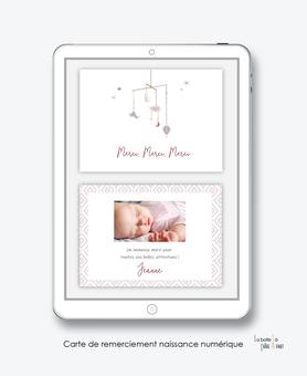 carte de remerciement naissance fille numérique-remerciements naissance digital-remerciement connecté-petit mobile-montgolfière-oiseaux-nuage-carte de remerciement  à imprimer -carte de remerciement à envoyer par mms, réseaux sociaux