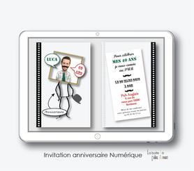 invitation anniversaire homme numérique-électronique- 20ans-30ans-40ans-50ans-60ans-à imprimer soi-même--faire-part à envoyer par sms-mms-par mail-réseaux sociaux-whatsapp-facebook-drole -humoristique-moustache-visage dans le cadre