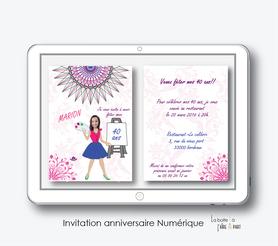 invitation anniversaire femme numérique-électronique- 20ans-30ans-40ans-50ans-60ans-à imprimer soi-même--faire-part à envoyer par sms-mms-par mail-réseaux sociaux-whatsapp-facebook-MANDALA -PEINTURE-COLORÉ