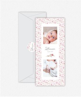 faire part naissance fille couronne kraft-plume-tipi-fleche-rose et beige-format marque page