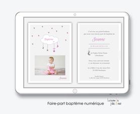 faire part bapteme fille numérique-Faire-part baptême digital-électronique-fichier Pdf-nuage blanc-à imprimer soi même