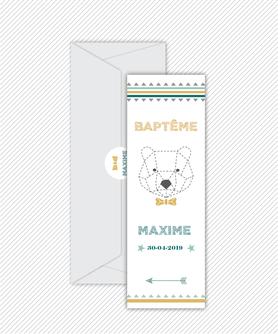 faire part bapteme garçon numérique animé-Faire-part baptême digital-électronique-fichier Pdf-envoyer via les reseaux sociaux-whatsapp-facebook-messenger- ours origami -noeud papillon