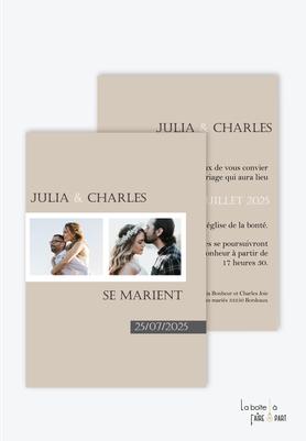 Faire-part mariage-photo polaroid-kraft-chic et romantique