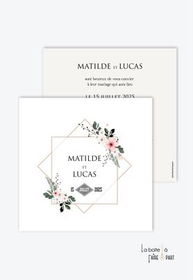 Faire-part mariage-champêtre-bohème-fleurs-pictogrammme-pivoines-fougère-format carré-recto/verso ou plié en 2