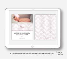 Carte de remerciements naissance numérique-carte de remerciements naissance digital-faire-part digital - attrape Montgolfière-plume-motif vintage-à imprimer soi même-à envoyer par mail -à envoyer par mms-sms-réseaux sociaux