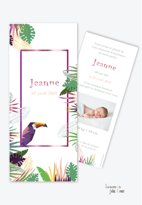 faire part naissance fille tropical toucan-jungle-feuille-palmier-bananier-forme parque page-avec photo-faire part animal