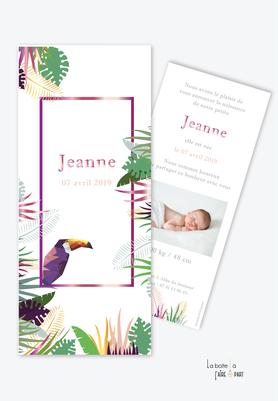 faire part naissance fille tropical toucan-jungle-feuille-palmier-bananier-forme parque page-avec photo-faire part animal