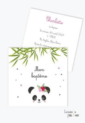 faire part baptême fille-panda fille-bambou-fleurs-hibiscus-coeur-animaux