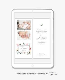 faire-part naissance fille numérique-faire part électronique-faire part digital -pdf numérique-faire part connecté-faire-part à envoyer par sms-mms-par mail-réseaux sociaux-whatsapp-facebook-photo-fleurs-floral-eucalyptus-végétal-champêtre