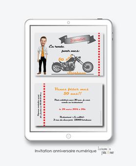 invitation anniversaire homme numérique-électronique- 20ans-30ans-40ans-50ans-60ans-faire-part à envoyer par sms-mms-par mail-réseaux sociaux-whatsapp-facebook-moto-biker-harley davidson-