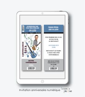 Carte d'invitation anniversaire-invitation anniversaire homme numérique-électronique- 20ans-30ans-40ans-50ans-60ans-faire-part à envoyer par sms-mms-par mail-réseaux sociaux-whatsapp-facebook-guitare electrique-concert-billet de concert