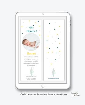 Carte de remerciements naissance garçon numérique-carte de remerciements garçon  électronique-fichier Pdf-cactus -à imprimer soi même-A envoyer via les réseaux sociaux whatsapp-messenger-facebook-mms et mail