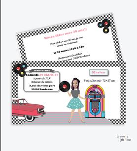 invitation anniversaire femme année50-jukebox-voiture-vintage