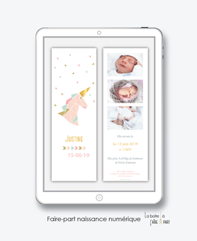 faire-part naissance fille numérique-faire part naissance digital-faire-part digital -faire part connecté-licorne origami dorée-faire part à imprimer-faire-part à envoyer par sms ou mms-A envoyer par mail-réseaux sociaux-messenger-whatsapp-via smartphone