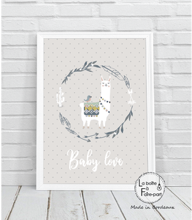 Affiche garçon lama couronne-lama- couronne -cactus-fléches-oiseau-motif à pois-déco chambre-affiche déco-poster- chambre de bébé-poster de chambre-déco chambre de bébé-affiche de naissance-affiche cadeau-cadeau de naissance- affiche naissance